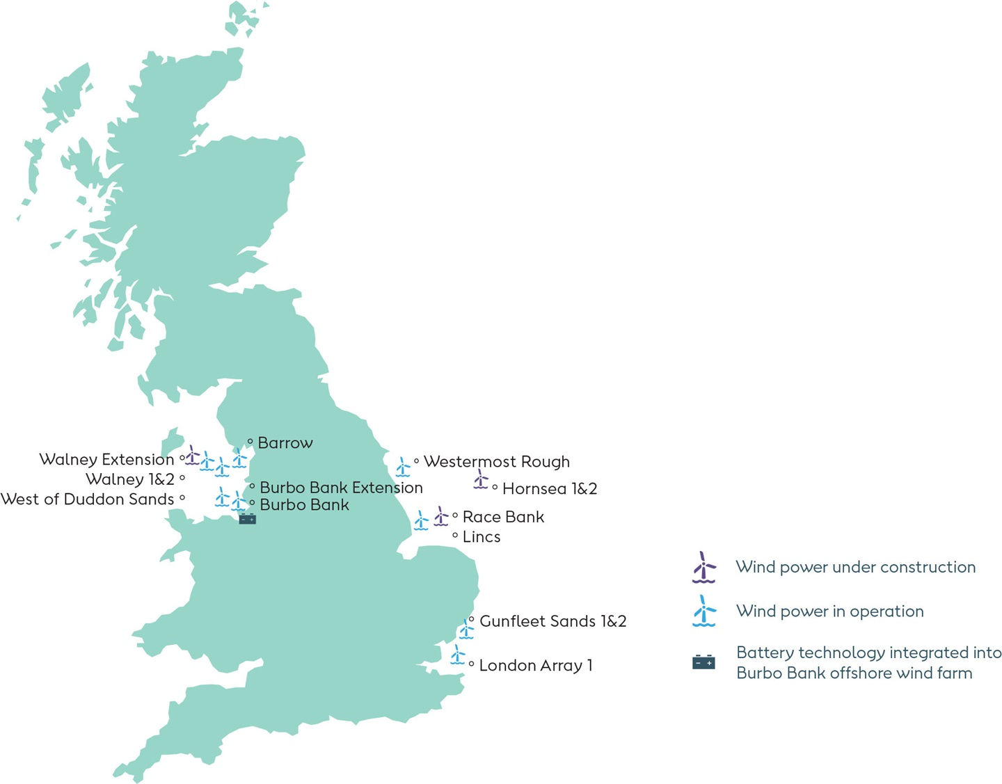 EDM Orsted UK Offshore wind map